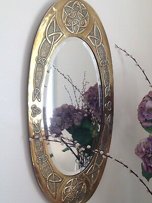 Antique Arts and Crafts Oval Brass Mirror With Celtic Knot Design