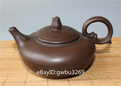 Collection Marks Old Chinese Yixing Zi sha handwork Carved lotus Lid tea Teapot