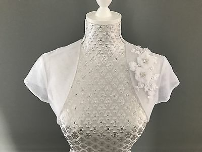 Bridal Wedding White Organza Short Bolero Jacket Shrug Luxury Floral Lace 8,10