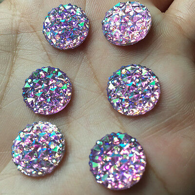DIY 30pcs 12mm Round AB Resin flatback Scrapbooking for phone Crafts purple