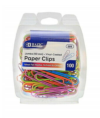 100 Plastic Coated Jumbo Paper Clips Assorted Color 50 mm - US Shipping