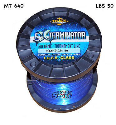 FILO MULINELLO EXTERMINATOR mt 640  BLU  TRAINA BIG GAME 50 LB  mm 0,70 IGFA