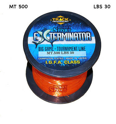 FILO MULINELLO EXTERMINATOR mt 500  ORANGE  TRAINA BIG GAME 30 LB  mm 0,70 IGFA