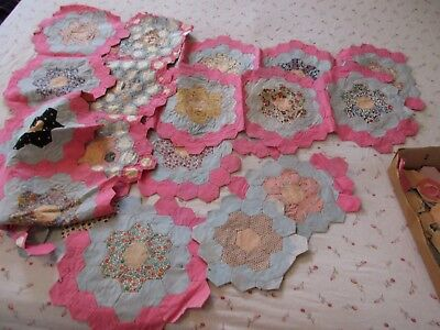 Vintage Early Quilt Patches - Pink - Blue & Prints
