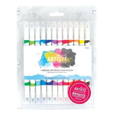 Docrafts Artiste Dual Tip Brush Markers Brights Collection DOA851100 NEW