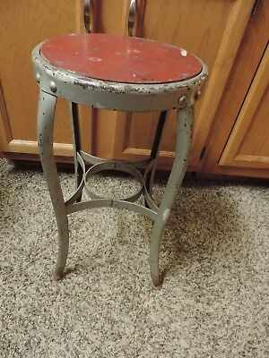 Vtg Steampunk Industrial Machine Age Steel Stool Red Seat Curved legs