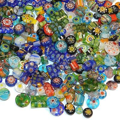 GXL3484 Assorted Color Mixed Shape 4mm - 14mm Millefiori  Flower Glass Beads 8oz