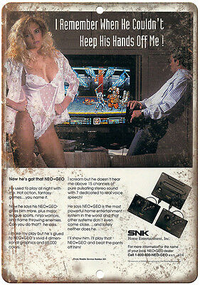 """Neo Geo SNK Entertainment System Hands off Me 10"""" x 7"""" reproduction metal sign"""