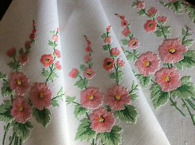 Beautiful Vintage Linen Hand Embroidered Tablecloth ~ Pink Blossoms