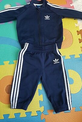 baby boys adidas tracksuit navy 6-9 months