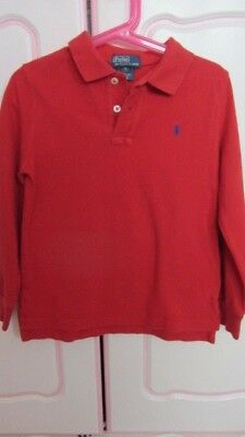 Boys Ralph Lauren Red Polo Shirt Long Sleeve Age 5 Years