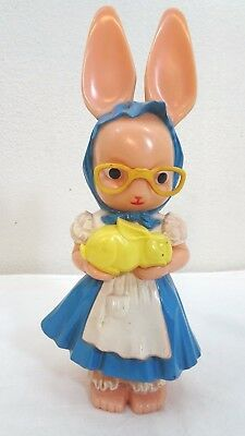 Vintage 1950's Knickerbocker Plastic Bank Easter Bunny Rabbit Holding Baby Bunny