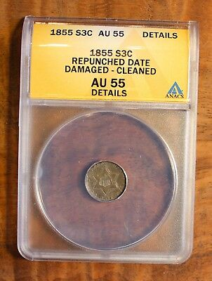 1855 Silver Three Cent Piece US Coin Repunched Date ANACS Au 55 Details .03
