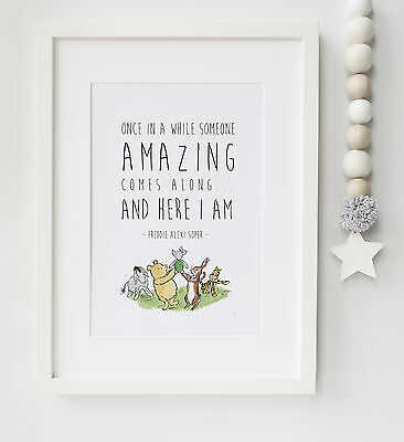 Personalised Winnie the Pooh Baby Quote Nursery Print Christening UNFRAMED