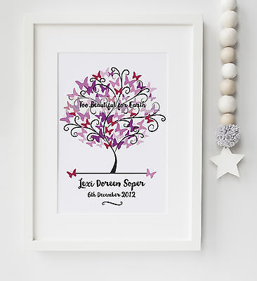 Personalised Baby/Infant Loss Memorial Remembrance Keepsake Picture UNFRAMED