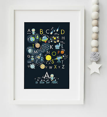 Personalised Space Alphabet Child/Baby Picture Print Nursery Wall Art UNFRAMED