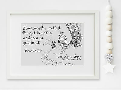 Personalised New Baby Winnie the Pooh Birth Nursery Print Christening UNFRAMED
