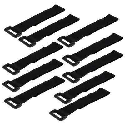 10 Pieces Nylon Hook and Loop Straps Fastening Cable Ties with Buckle Black