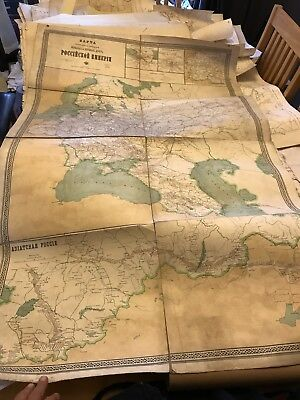 "1913 Cloth Backed Russian Map ( Large Approx 4' 4""x 2' 9"")"