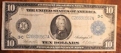 1914 Federal Reserve Note Ten Dollar US Currency $10.00 Andrew Jackson Phili