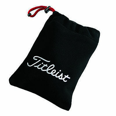 New 2014 Titleist FLEECE Valuables Pouch BLACK Travel Drawstring