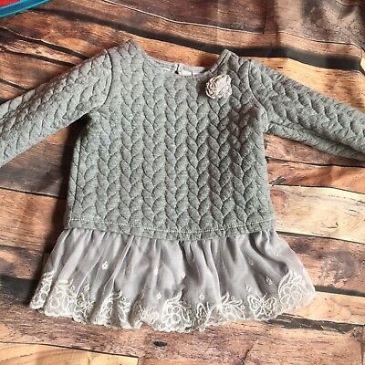 6-9 Months Baby Girl Grey Jumper Top Dress Winter Warm Clothes