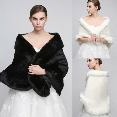 Winter Hot White Faux Fur Wrap Bridal Wedding Party Shawl Stole Shrug Scarf Cape