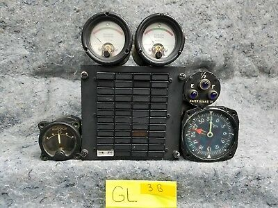 Lot of 5 Aircraft Gauges 1 light control box GL3B