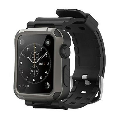 Apple Watch Series 1/2/3  Grey Rugged Protective 42mm Case w/ Black Strap Bands