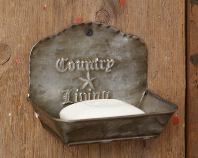 New SET 2 COUNTRY LIVING SOAP DISH Container Shelf Metal Holder Vintage Prim