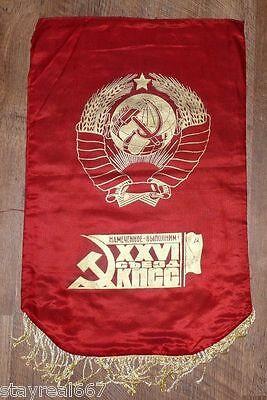 Authentic Soviet USSR Award Flag Pennant 50 Years of STAHANOVEC MOVEMENT #27