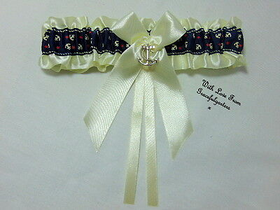 Sailor beach nautical Anchor Bridal Wedding Garter.