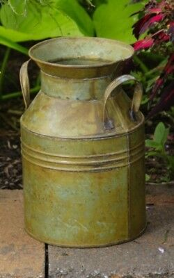 Primitive French Country ANTIQUE GREEN MILK CAN Rustic Tin Vintage Bucket Vase