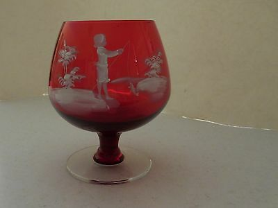"""Mary Gregory Rare?  Red / Crystal Base Brandy Sniffer 5 5/8 """" tall /4 1/2 """" wide"""