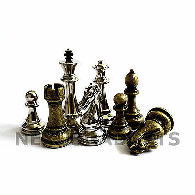 Jute Chess PIECES ONLY Metal Set EXTRA LARGE 4 Inch King, EXTRA QUEENS, NO BOARD