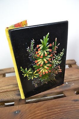 1800 Victorian Ebonised Wood Lacquered Wallet Sewing Embroidery Floral Design
