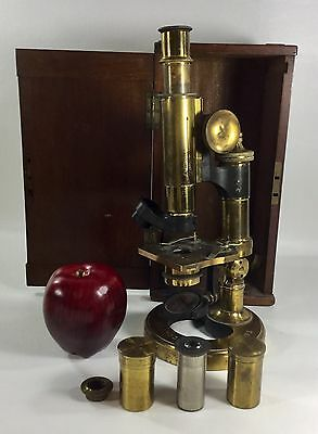 Antique Ross Eclipse Microscope Brass London Two Objectives - Jas W. Queen & Co.