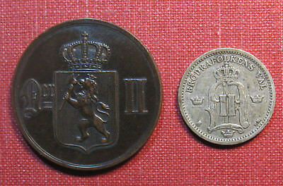 LOT OF (2) 19th CENTURY NORWAY COINS - EXCELLENT CONDITION, HAVE A LOOK!