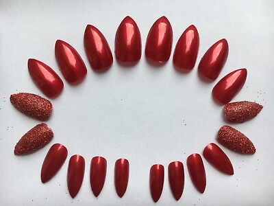 20 x Hand Painted False Nails Red & Glitter Full Cover & Glue