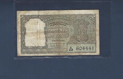 1962 Two Rupee Note Pick #31 in Fine No Pin Holes