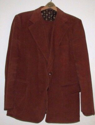 Vintage 1970s Mens Rust Brown CORDUROY 3 piece suit 46R Pants 40