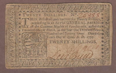 1777 Colonial Pennsylvania Bank Note 20 Shillings April 10, 1777