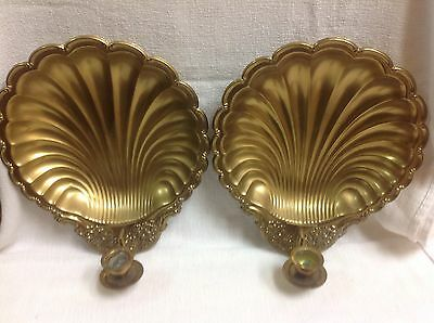 Vintage French  large brass clamshell wall sconces candlesticks unique pair