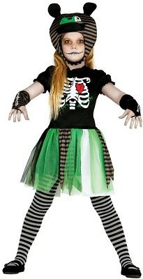 Girls Green Skeleton Zombie Halloween Horror Fancy Dress Costume Outfit 5-10 yrs