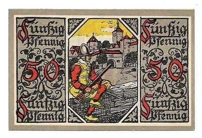 **1918 ROTHENBURG Germany Banknote- SOLDIER with gun ~ WW1 German Currency UNC