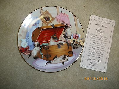 Siamese Cat Hamilton Collectors Plate Attic Attack Numbered with Box and Cert