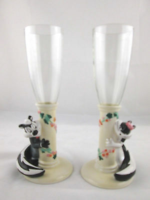 Pepe Le Pew & Penelope WEDDING CHAMPAGNE FLUTE GLASSES Pair