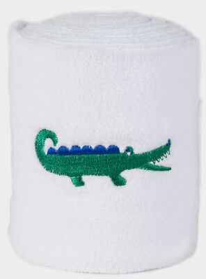 Lettia Collections Embroidered Polo Wraps White with Alligators Washable NEW