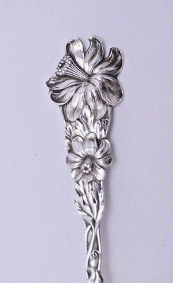 Antique Sterling Silver Souvenir Spoon- Beautiful Flower Handle w/Engraved