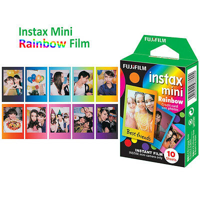 Fujifilm Instax Mini Rainbow Color Film 10 Sheets Fuji Instant 8 9 Camera Photos